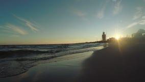 Sea sunset evening stock video