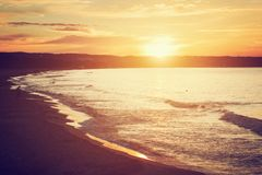 Sea at sunset. Gdansk, Sopot in Poland. Baltic sea. Royalty Free Stock Photo