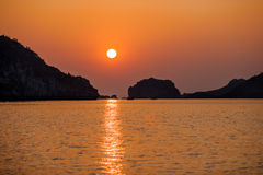 Sea Sunset, Halong Bay, Vietnam Royalty Free Stock Photos