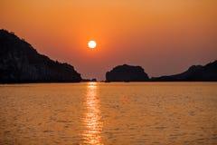 Sea Sunset, Halong Bay, Vietnam. Sunset at Halong Bay near to Cat Ba Island in North Vietnam Royalty Free Stock Photos