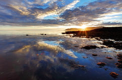 Sea sunset in Iceland Royalty Free Stock Photo