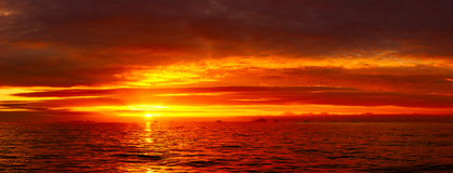 Sea sunset idyll Stock Photos