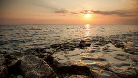 Sea at sunset. The sea at sunset. Landscape stock footage