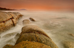 Sea sunset long exposure Royalty Free Stock Images