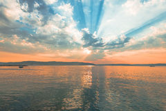 Sea sunset on Marmara sea, marina of Canakkale, Turkey Royalty Free Stock Images
