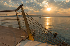 Sea sunset on Marmara sea, marina of Canakkale, Turkey Stock Images