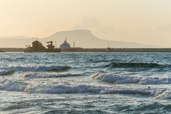 Sea at sunset near the island of Crete Stock Photography