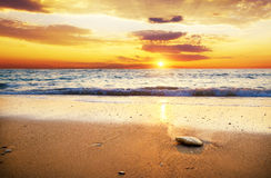 Sea sunset. Sunset over ocean. Nature composition Royalty Free Stock Image