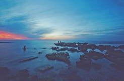 Sea sunset. At Palmachim beach, Israel Royalty Free Stock Images