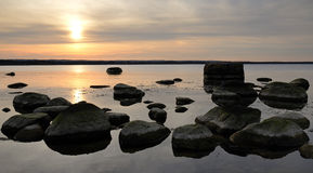 Sea sunset panorama Stock Images