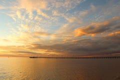 Sea sunset and pier. Frankston, Victoria, Australia Stock Photos