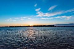 Sea sunset quietly Royalty Free Stock Photos
