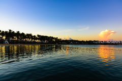 Sea sunset quietly Stock Photo