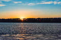 Sea sunset quietly. The calm sea in the sunset sky beautifully Royalty Free Stock Photo