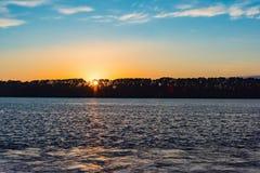 Sea sunset quietly Royalty Free Stock Photo