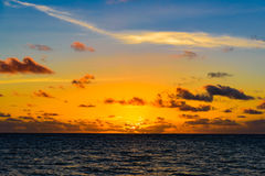 Sea sunset quietly. The calm sea in the sunset sky beautifully Stock Photos