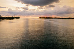 Sea at sunset from Sarasin Bridge Royalty Free Stock Images