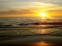 Sea at the sunset Stock Photos