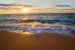 Sea sunset surf wave. Sea  sunset surf great wave break on sandy coastline (and splashes shadows Stock Photos