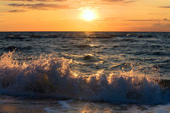 Sea sunset surf wave Stock Photos