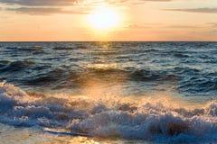 Sea sunset surf wave Royalty Free Stock Photos