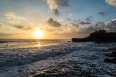 Sea sunset. At Tanah lot . Bali - Indonesia Royalty Free Stock Photos
