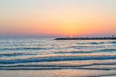 Sea sunset Tel Aviv Royalty Free Stock Photo
