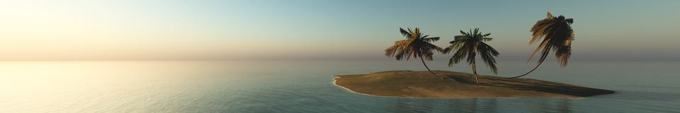 Sea sunset on a tropical island, panorama, banner. Royalty Free Stock Photos