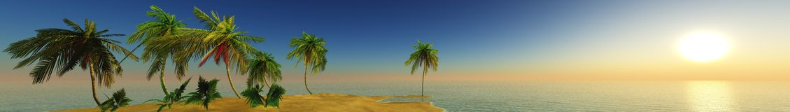 Sea sunset on a tropical island, panorama, banner. Stock Photography