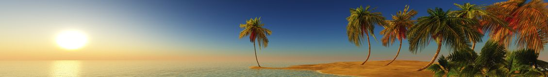 Sea sunset on a tropical island, panorama, banner. Royalty Free Stock Images