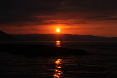 Sea and Sunset in turkey Stock Images