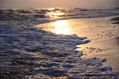 The sea at sunset stock photo