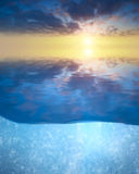 Sea sunset. Sunset on the sea and under water Stock Image