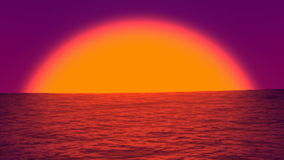 Sea sunset vith big sun - seamless loop stock video footage