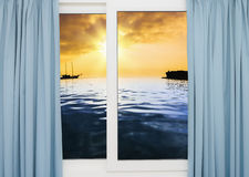 Sea sunset from the window Royalty Free Stock Photography