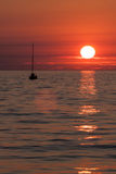 Sea sunset with yacht Royalty Free Stock Images