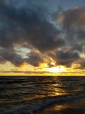 Sea sunset. Yellow horizon during sunset on Baltic sea royalty free stock photo