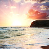 Sea on sunsets Stock Photos
