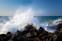 Sea surf 1. Sea surf with splashes and white foam royalty free stock photography