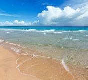 Sea surf on beach. Beautiful sea surf, summer seascape view from sandy beach royalty free stock images