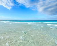 Sea surf on beach. Beautiful sea surf, summer seascape view from sandy beach stock photography