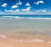 Sea surf on beach. Beautiful sea surf, summer seascape view from sandy beach stock images