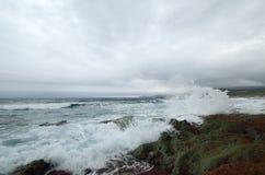 Sea surf. On the coast of Sardinia. Italy Stock Image