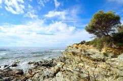 Sea surf. On the coast of Sardinia. Italy Royalty Free Stock Image