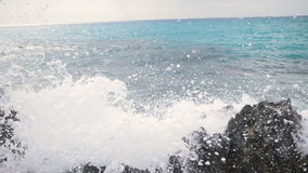 Sea surf in the Cyprus. Rocky stoned beach. Summer day.  stock footage