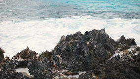 Sea surf in the Cyprus. Rocky stoned beach. Summer day. Paradise vacation.  stock video footage