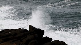Ocean Waves And Lava Rock Shore Depoe Bay Oregon Fast Motion stock video footage
