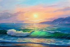 Sunrise over sea. Painting seascape. royalty free illustration