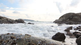 Sea surf, Ocean wave on rock beach stock footage