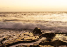 Sea surf on rocks in the area  La Pared on Fuerteventura Royalty Free Stock Images